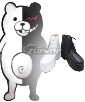 Danganronpa Dangan Ronpa Monokuma Female Black White Shoes Cosplay Boots