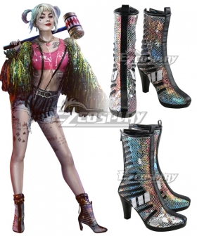 DC Birds of Prey Harley Quinn White Black Cosplay Shoes