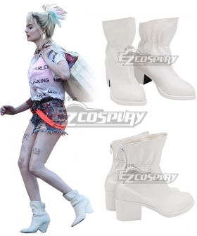 DC Birds of Prey Harley Quinn White Cosplay Shoes