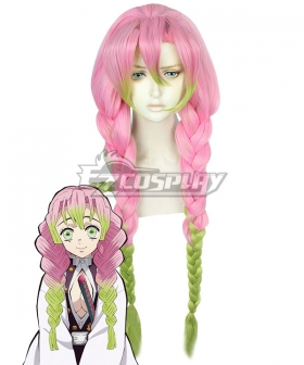 Demon Slayer: Kimetsu No Yaiba Kanroji Mitsuri Pink Green Cosplay Wig B Edition