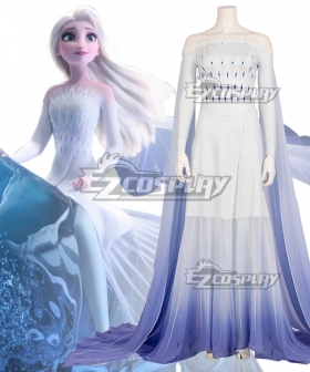Disney Frozen 2 Elsa Snow Queen Blue White Dress Cosplay Costume