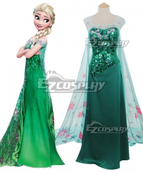 Disney Frozen Snow Queen Elsa Green Dress Cosplay Costume