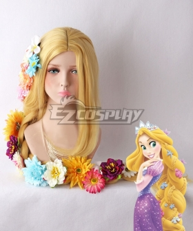 Disney Tangled Rapunzel Princess Yellow Cosplay Wig - Wig + Flowers
