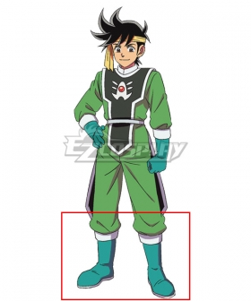 Dragon Quest: The Adventure of Dai Pop Green Shoes Cosplay Boots