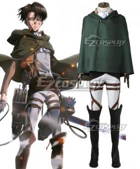 Attack on Titan Shingeki no Kyojin Levi Ackerman Scout Regiment Cosplay Costume - No Boots