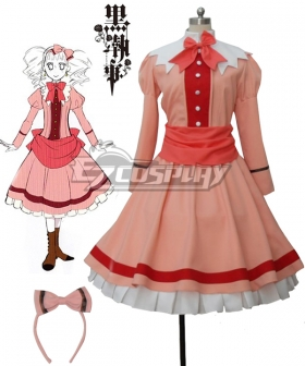 Black Butler II Kuroshitsuji Elizabeth Midford Liz Orange Lolita Long Dress Cosplay Costume