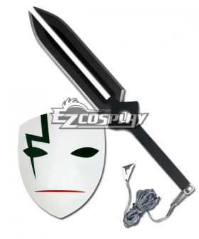Darker Than Black Hei BK-201 Li Shenshun Cosplay Mask & Sword Weapon