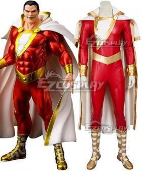 DC Comics Shazam Captain Marvel Billy Batson Cosplay Costume - Including Boots