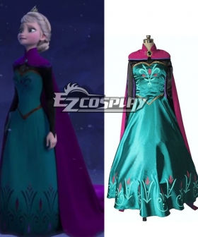 Frozen Snow Queen Elsa Outfit Disney Coronation Dress Cosplay Costume-Standard Ver.