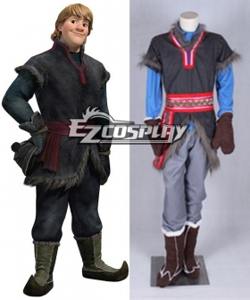 Disney Frozen Kristoff Movie Grey Outfit Full Set Cosplay Costume