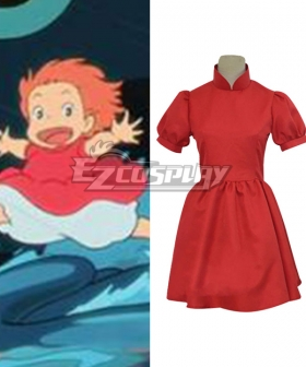 Hayao Miyazaki Gake no Ue no Ponyo on the Cliff by the Sea Red Dress Cosplay Costume