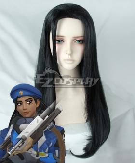 Overwatch OW Ana Amari Captain Amari Black Cosplay Wig