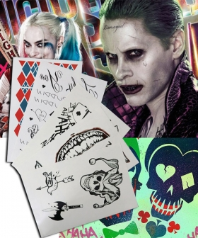 DC Detective Comics Batman Suicide Squad Task Force X Harley Quinn Joker 2016 Movie Tattoos Cosplay Accessory Prop
