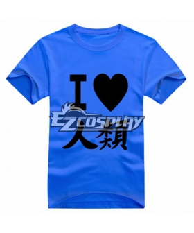 No Game No Life Anime Sora T-shirt Short Blue Sleeve Cosplay Costume