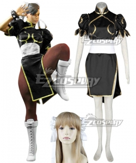 Street Fighter Chun Li Black Cosplay Costume - No Wig