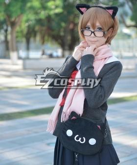 Ascii Emoticon Cosplay Chicken Nugget Cute Clever Cat(・`ω´・) Anime Plush Shoulder Messenger Bag Satchel Black
