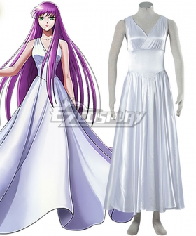 Saint Seiya Knights of the Zodiac Athena White Dress Cosplay Costume - A Edition