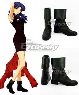 EVA Neon Genesis Evangelion Misato Katsuragi Black Green Cosplay Shoes