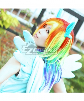 My Little Pony Friendship is Magic Rainbow Dash Colorful Cosplay Wig