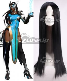 Overwatch OW Symmetra Satya Vaswani Black Cosplay Wig
