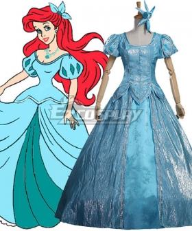Disney The Little Mermaid Ariel Princess Blue Dress Cosplay Costume - A Edition