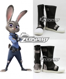 Disney Zootopia Officer Judy Hopps Black Shoes Cosplay Boots