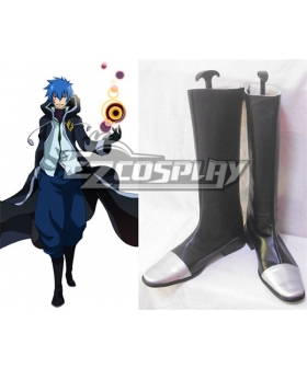 Fairy Tail Jellal Fernandes Black Silver Shoes Cosplay Boots