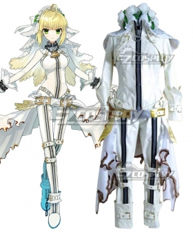 Fate Grand Order FGO Saber Caster Nero Claudius Wedding Dress Stage 1  Cosplay Costume