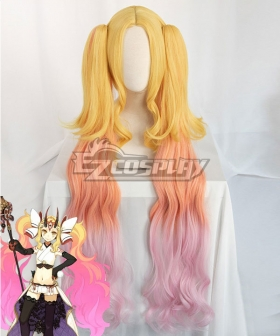 Fate Grand Order Lancer Ibaraki Douji Stage 3 Golden Orange Pink Cosplay Wig