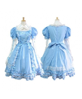 Sweet Blue Maid Dress Lolita Cosplay Costume ELT0021
