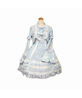 Blue Cute 2-Piece Dress Long-sleeved Dress Lolita Cosplay Costume ELT0022