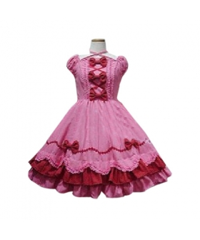 Peach Bow Princess Dress Lolita Cosplay Costume ELT0025
