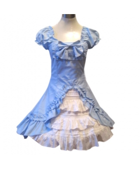 Classic Double Hemlines Blue Dress Lolita Cosplay Costume ELT0026