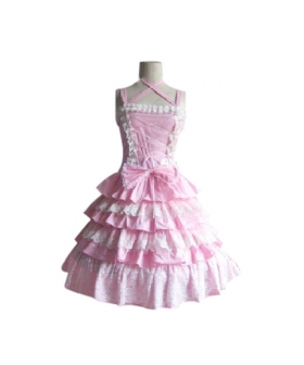 Stunning Tiered Ruffles Pink Dress Lolita Cosplay Costume ELT0028
