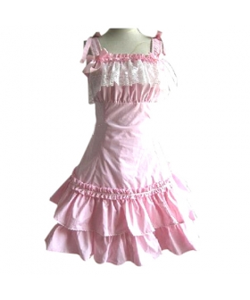 Pink Lace Princess Dress Lolita Cosplay Costume ELT0029