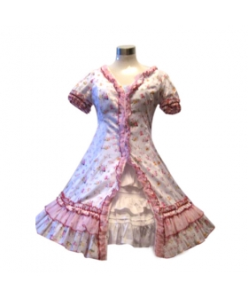 Garden Style Pink Broken Flower Dress Lolita Cosplay Costume ELT0027