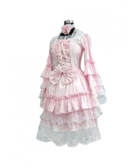 Sweet Pink And White Lolita Cosplay Dress