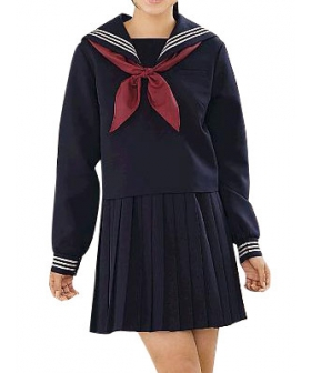 High waisted Deep Blue Long Sleeves Sailor Uniform Cosplay Costume