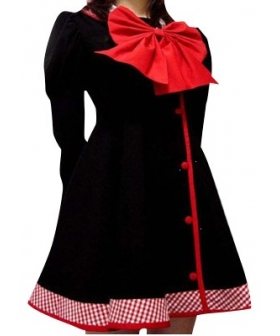 Black Red Long Sleeves Dress School Uniform Cosplay Costume