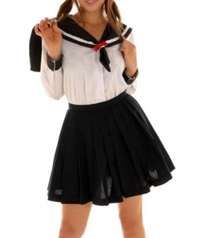 Black Skirt Long Sleeves Sailor Uniform Cosplay Costume