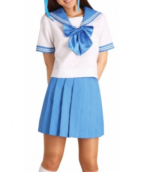 Blue Bowknot Short Sleeves School Uniform Cosplay Costume