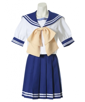 Blue Short Sleeves School Uniform Cosplay Costume