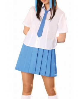 Blue Tie Blue Short Sleeves School Uniform Cosplay Costume
