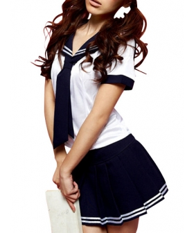 Deep Blue and White Short Sleeves Sailor Uniform Cosplay Costume