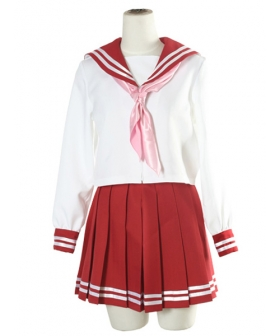 Red and White Long Sleeves School Uniform Cosplay Costume