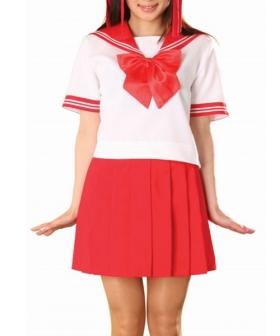 Red Skirt Short Sleeves Sailor Uniform Cosplay Costume