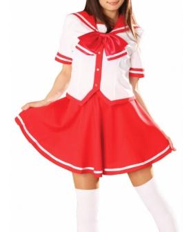 Red Skirt Short Sleeves School Uniform Cosplay Costume
