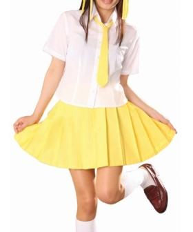 Short Sleeves Yellow Skirt School Uniform Cosplay Costume