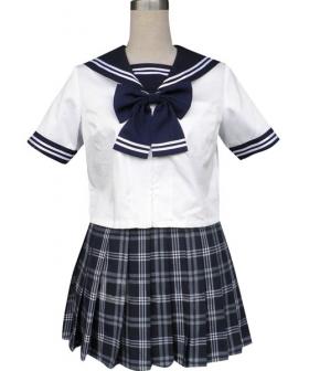 Royal Blue Short Sleeves Grid Skirt Sailor Uniform Cosplay Costume