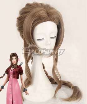 Final Fantasy VII FF7 Aerith Gainsborough Aeris Brown Cosplay Wig